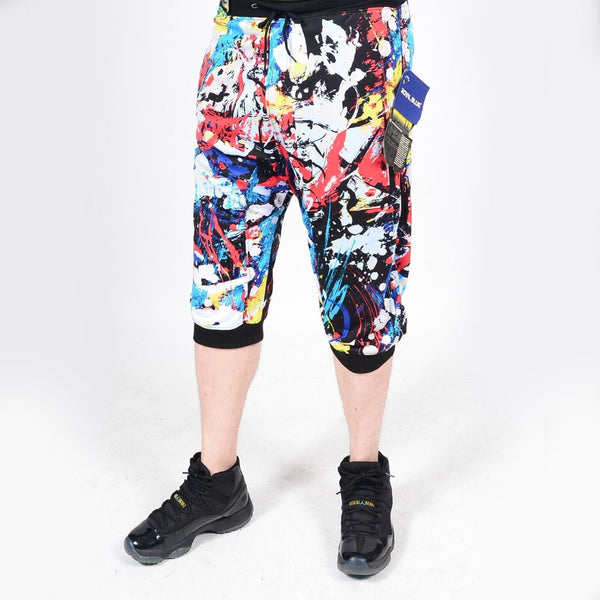 Mens Summer French Terry Apparel Anime Emoji REBELLIOUS Print JOGGER Shorts