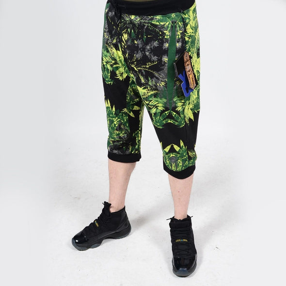 Mens Summer French Terry Apparel Anime Emoji MARIJUANA Print JOGGER Shorts