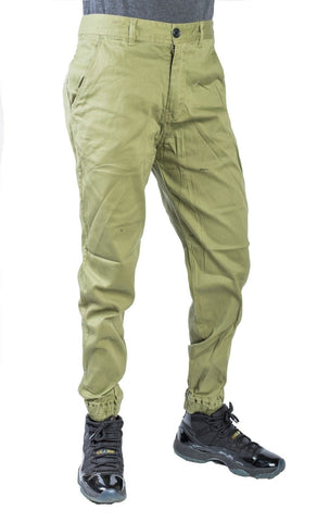 Mens Twill Fashion Joggerpants Solid fit urban basic Joggers Relax fits OLIVE