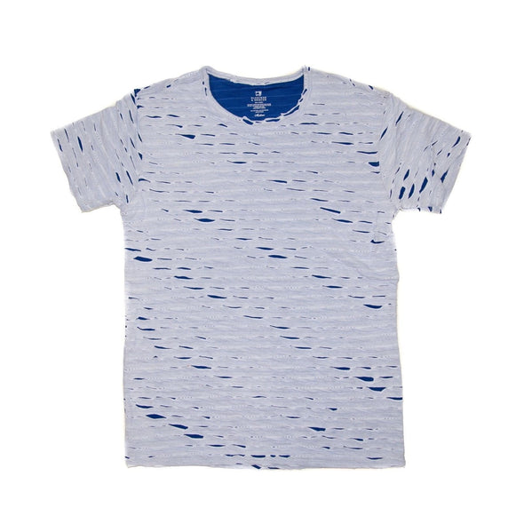 Bleeker & Mercer Distressed Crew Neck T- Shirt - White & Blue