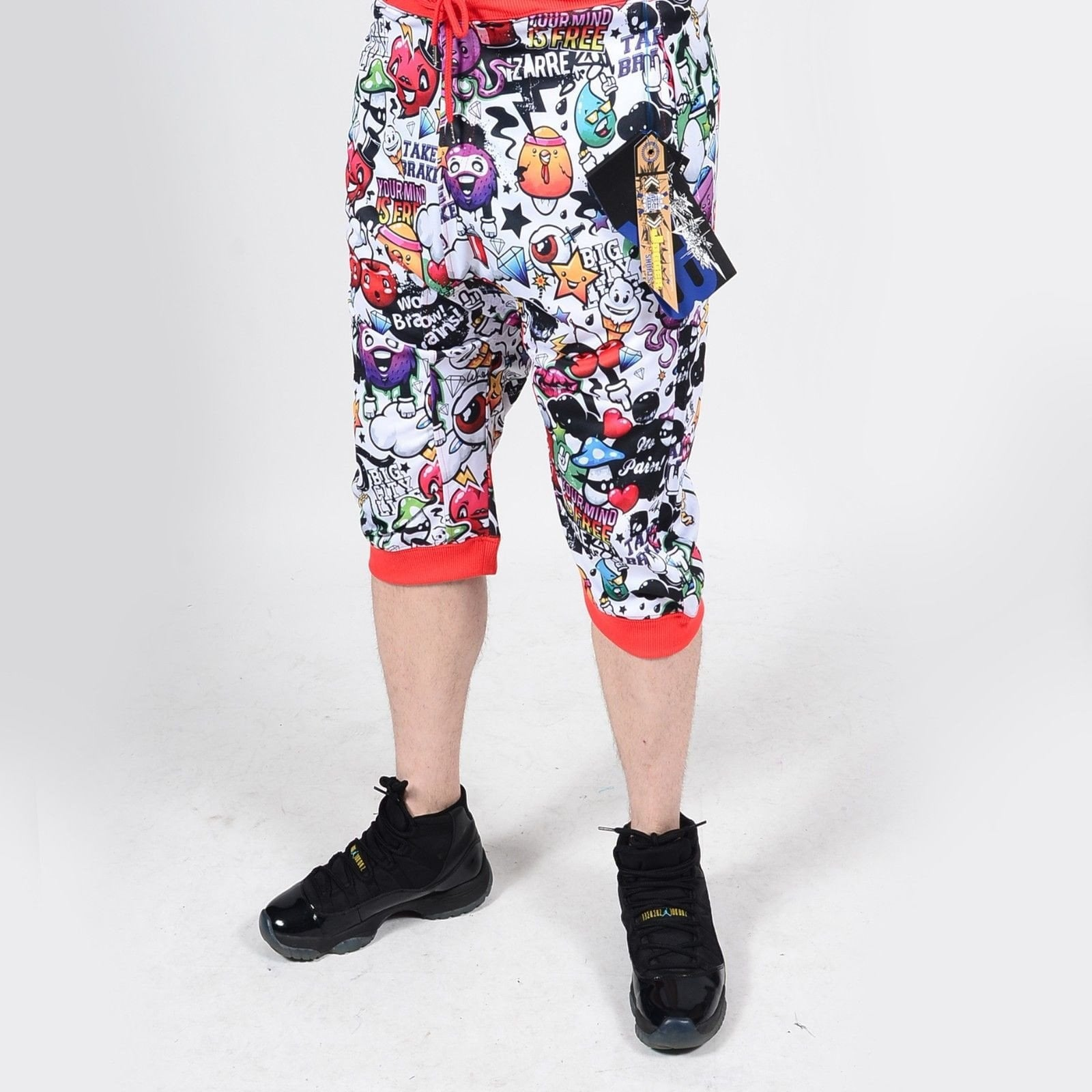 Mens Summer French Terry Apparel Anime Emoji POP FUN  Print JOGGER Shorts