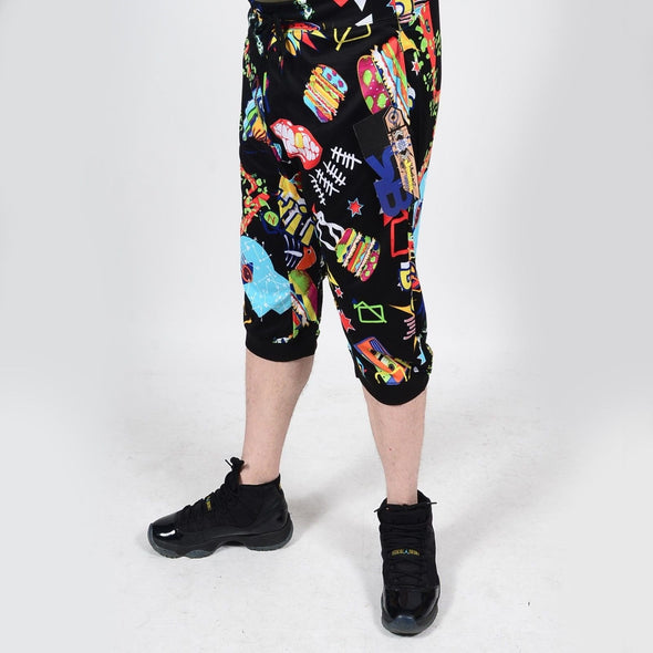 Mens Summer French Terry Apparel Anime EMOJI COMIC Print JOGGER Shorts