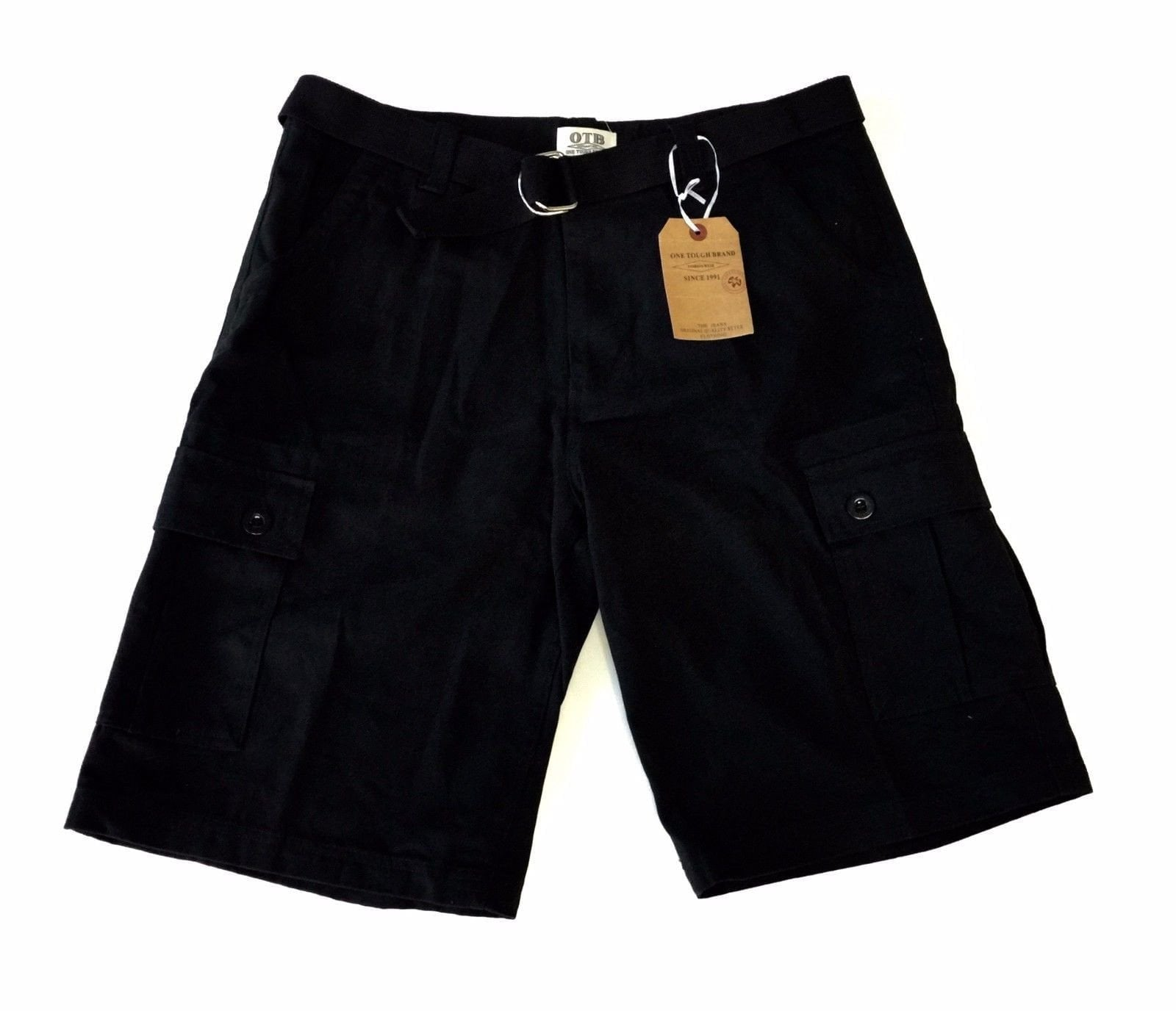 NEW NWT MEN'S COTTON CARGO SHORTS RELAXED FIT BLACK WITH BELT LOOP 6 POCKET