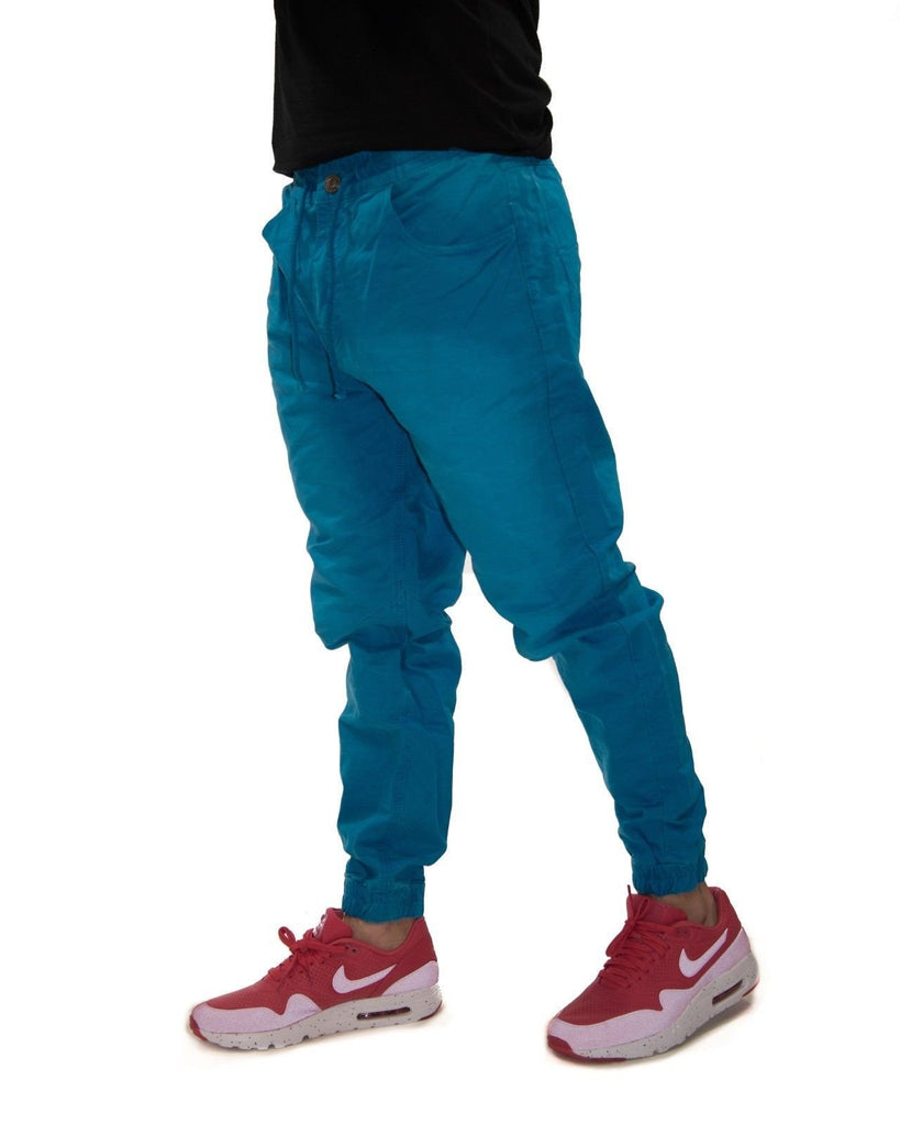 Royal Blue Light Fade Denim Joggers (Relaxed Fit)
