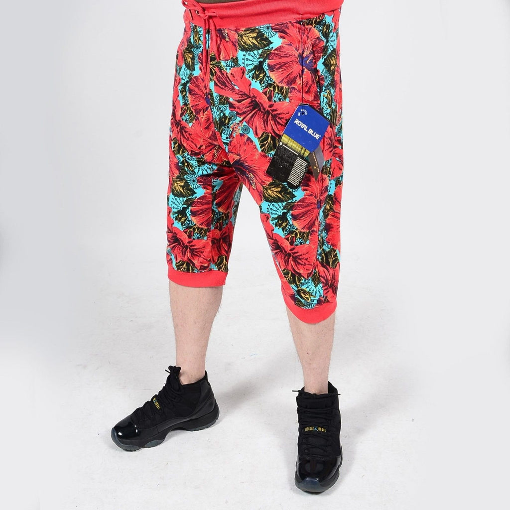 Mens Summer French Terry Apparel Anime EMOJI FLORAL Print JOGGER Shorts