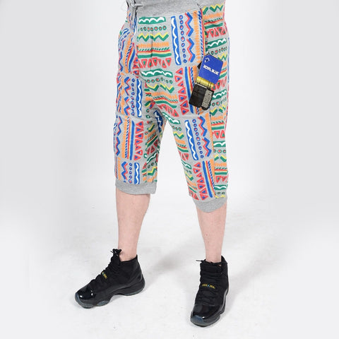 Mens Summer French Terry Apparel Anime Emoji TRIBAL Print JOGGER Shorts