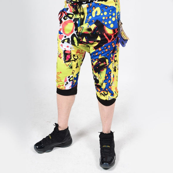 Mens Summer French Terry Apparel Anime Emoji POP FUN/2 Print JOGGER Shorts