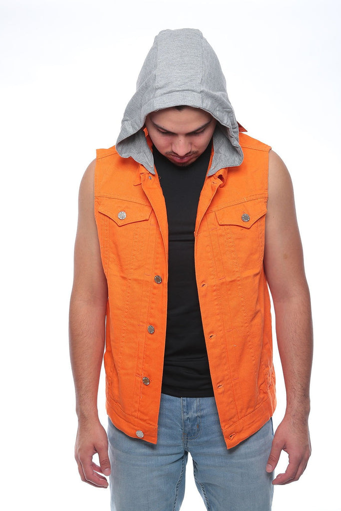 Men's NEW  Denim biker vest  Color Vest casual Jacket JEAN VEST ORANGE HODD
