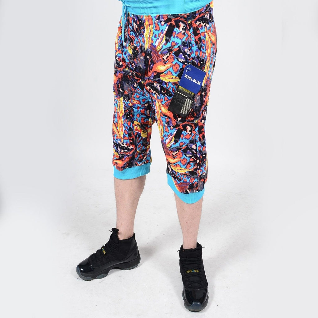 Mens Summer French Terry Apparel Anime EMOJI JUNGLE Print JOGGER Shorts