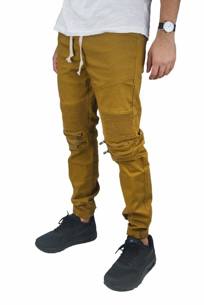 Men's Twill Biker Jogger Pants ZIPPER Moto Casual