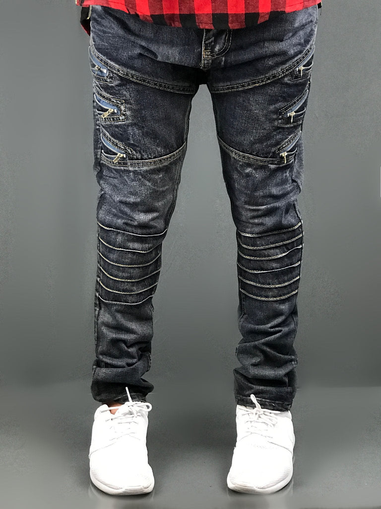 Distressed Biker ripped slim fit Jeans premium biker ZIPPER