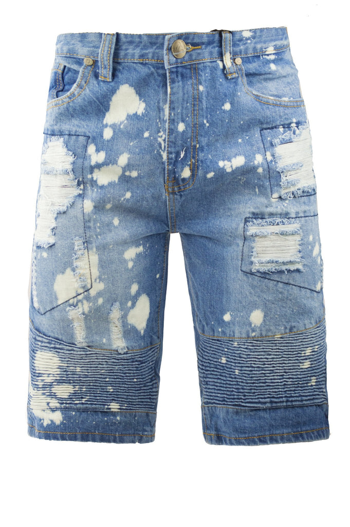Mens SLIM Fit Denim Jean SHORTS ACID WASHED SHORTS RIPPED VINTAGE