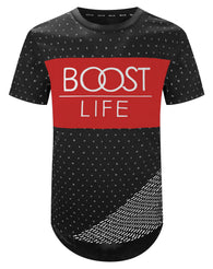 Mens Hipster Hip Hop Embossed boost life Shirt Rounded Casual Fashion Top
