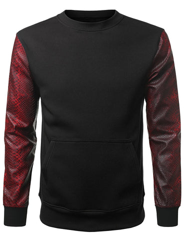 Men's PU Pullover Sweater Crewneck Zipper Faux Leather Fleece