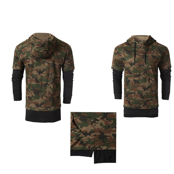 Mens Elongated Hooded Hipster Hip Hop camo Wash Long Sleeves Hoodie