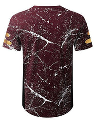Mens CRACKED Print Hipster Hip Hop Graphic Print Longline Crewneck T-shirt