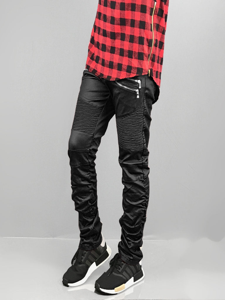 Skinny Scrunched Stretch Biker COATED BIKER JEANS Zipper Jeans biker pants