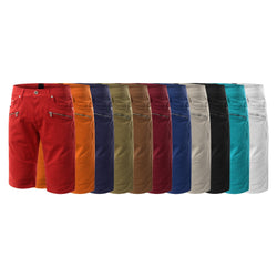 Mens twill biker zipper classic fit stretch shorts