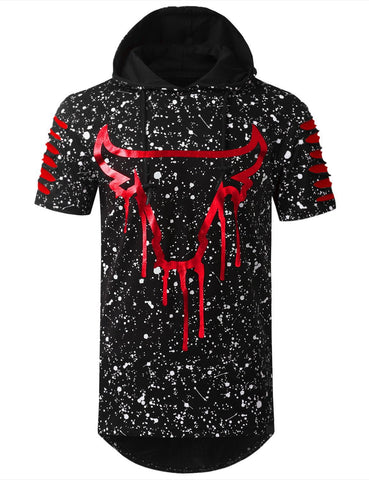 Bulls Elongated Long T-Shirt Splatter Ripped Parody Hoodie T-Shirts