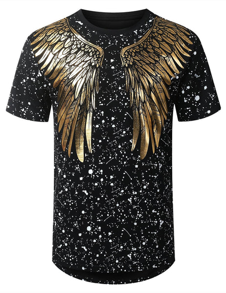 Mens Hipster Hip Hop foil wings Graphic Top Shirts