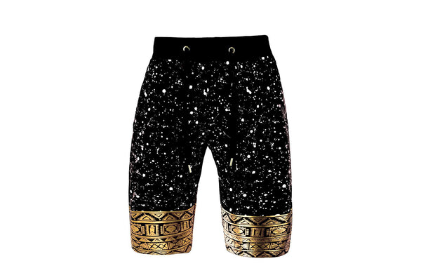 Mens SLIM Fit french terry drawstring SHORTS splatter