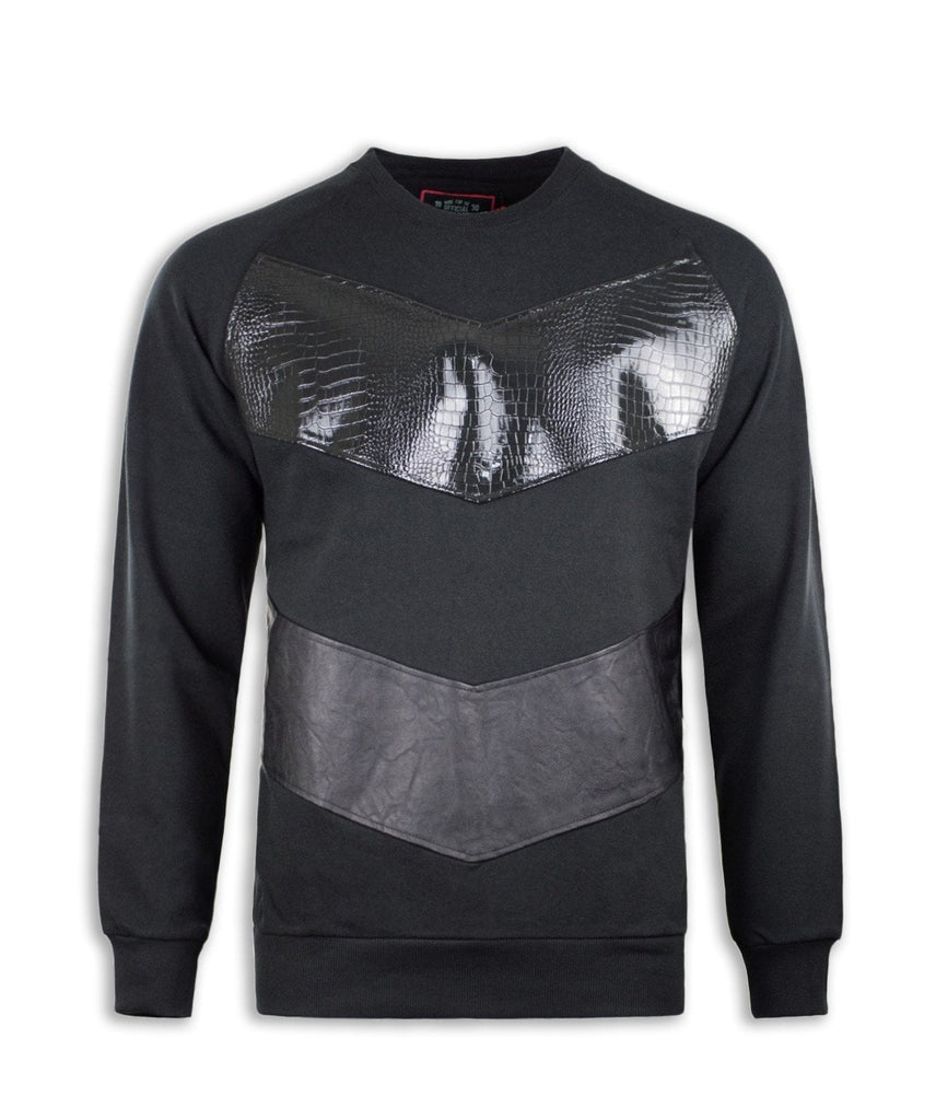 Faux Leather - Sleeve Crewneck Sweatshirt