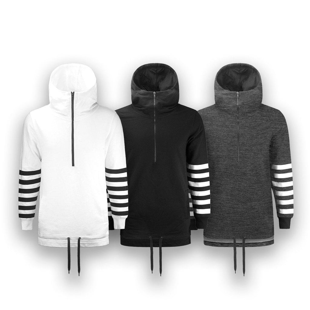 Elongated Hoodie Pullover Sweater FRENCH TERRY HOODIE WITH MASK