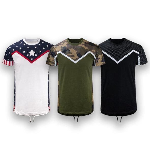 Elongated Long French Terry Mens T-shirts Drawstring