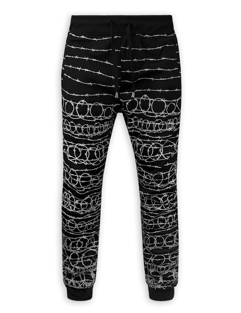 Mens Casual Slim Fit BARB WIRE  Fleece Lowrider Urban Jogger Pants