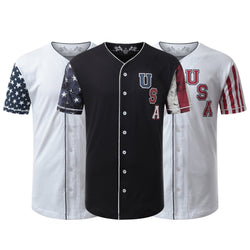 USA Flag Button Down Baseball Jersey Tshirts