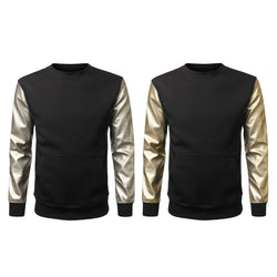Big & Tall  Men's PU Pullover Sweater Crewneck Zipper Faux Leather Fleece