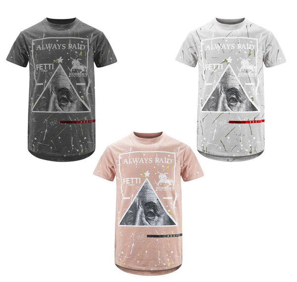 Graphic Print PYRAMID SPPLATER  always paid foil Casual Fashion Top