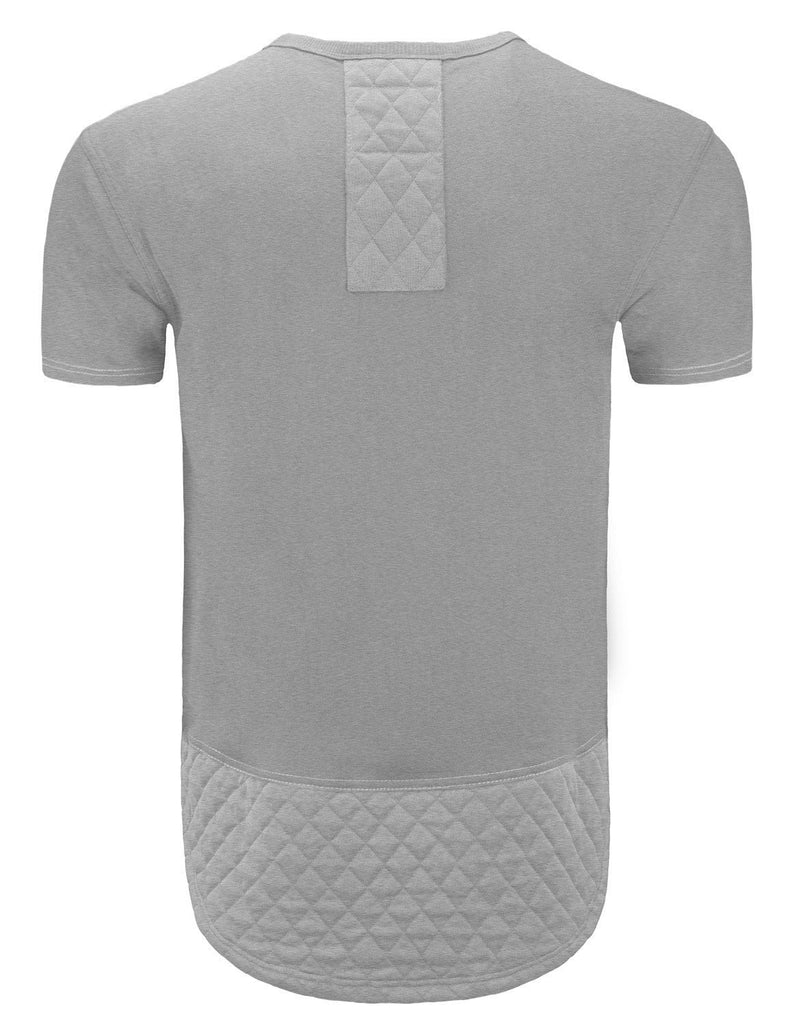 Rounded V-Neck Quilted Detail T-Shirt