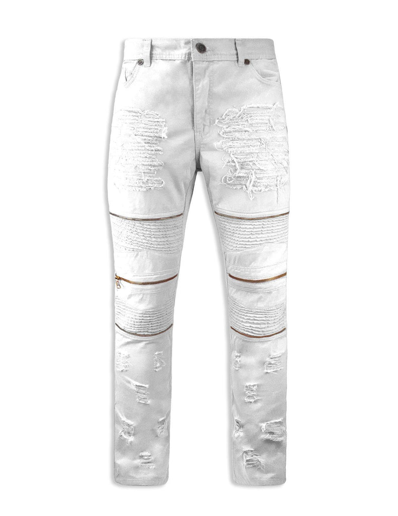 Mens distressed biker zipper pants stretch