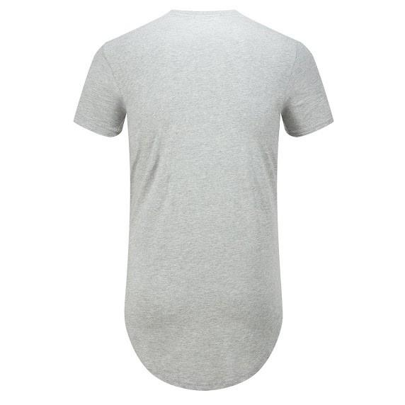 Mens Long T-Shirt Long Extended with Side ZipperCrew Neck Elongated Longline