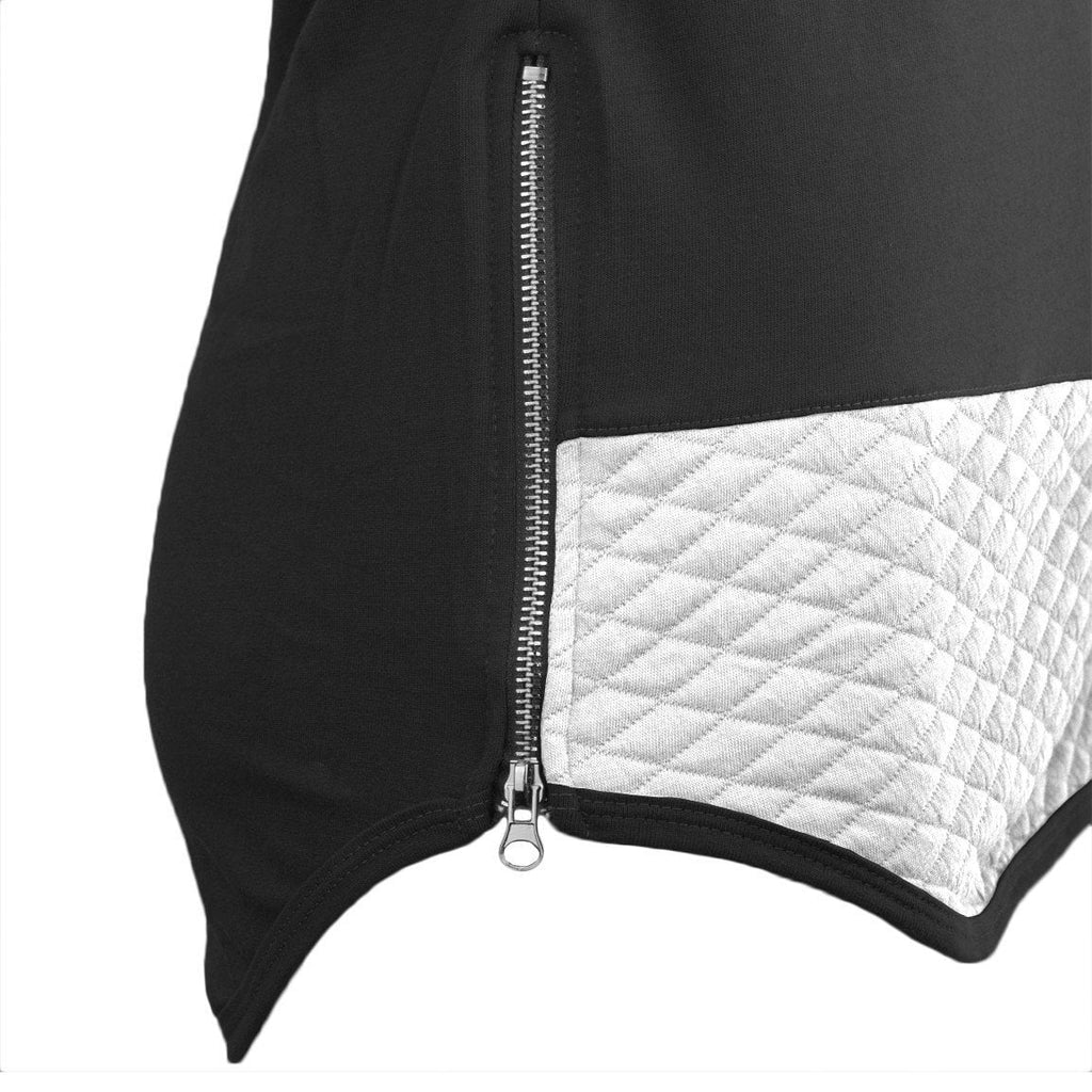 Quilted  Short Sleeve Pullover Hoodie ZIPPER ON THE SIDE