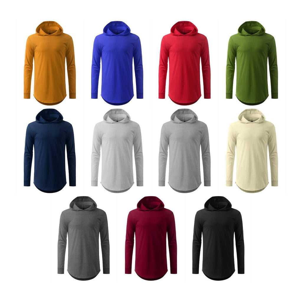 hooded Elongated Basic Drop Tail Long Sleeve T-Shirt