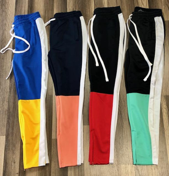 Skinny Single Strap Color Block Pocket Track Pants