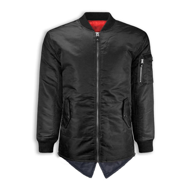 MA-1 Bomber Flight Jacket  Elongated Longline SIDE ZIPPER fish tail