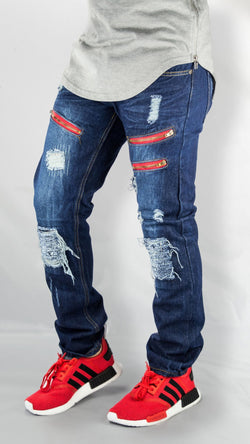 MENS JEANS FRONT ZIPPER distreesed ripped