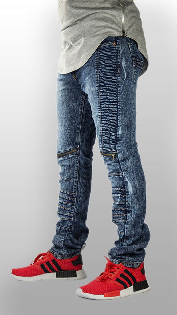 MENS JEANS biker zipper distreesed ripped