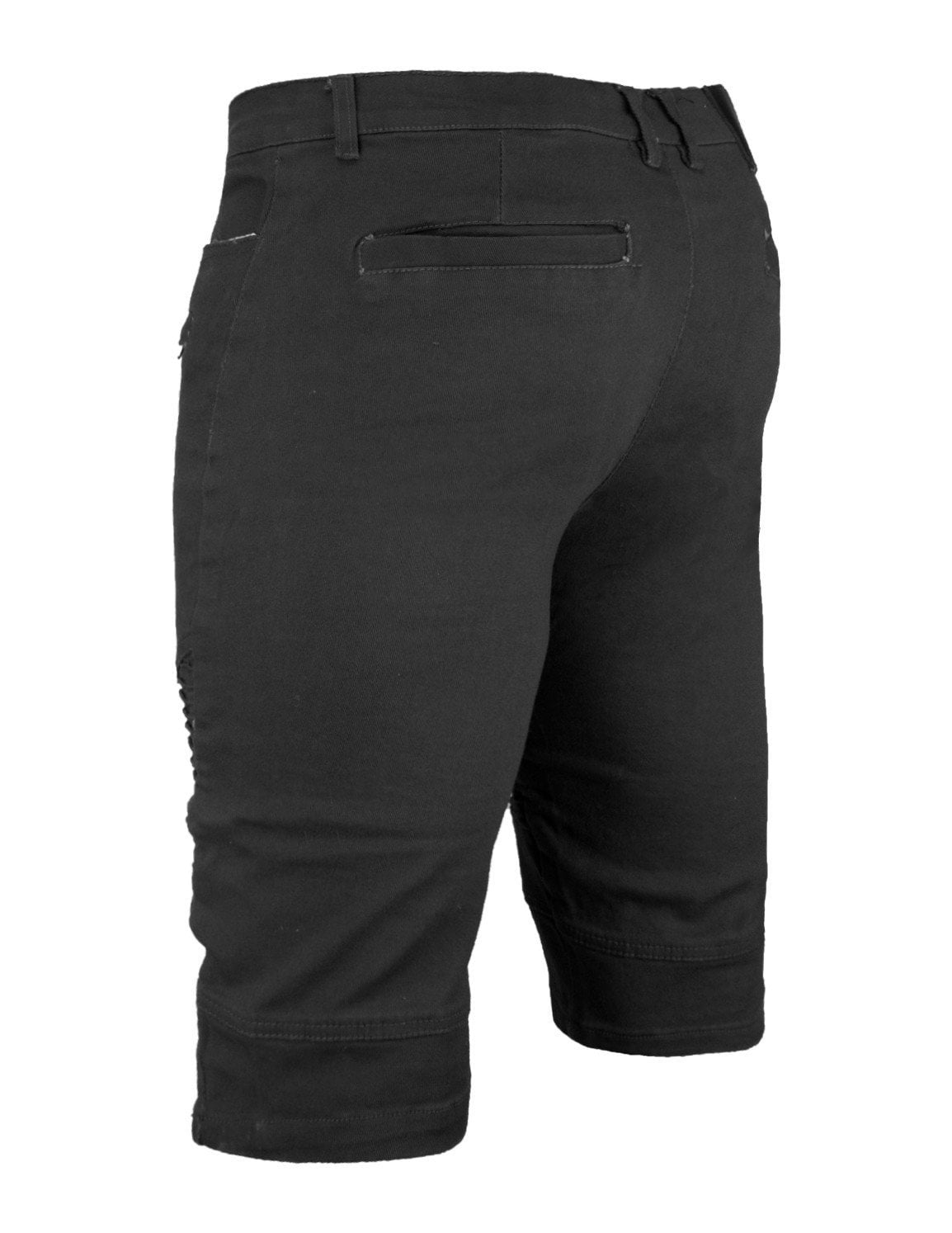 Men's Premium BLACK JEANS Biker  BELT LOOP Slim Shorts free shipping