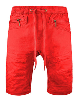 Men's Premium red Twill Biker Jogger Drawstring Slim Shorts free shipping