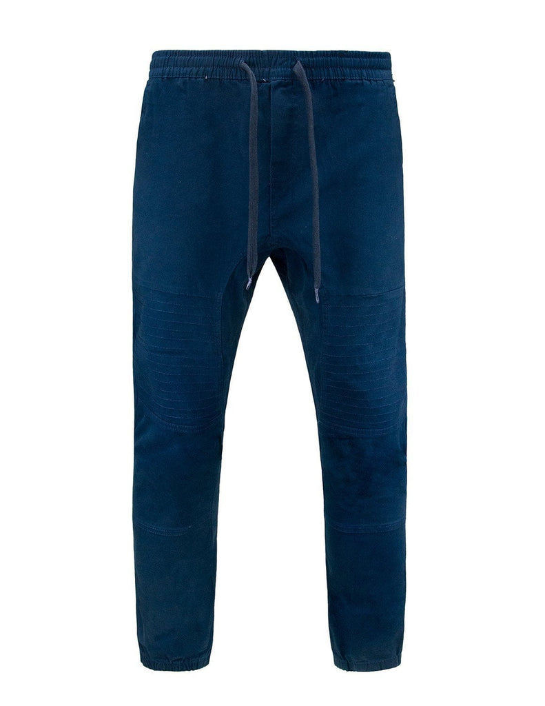 Mens twill biker detail Stretch Joggers