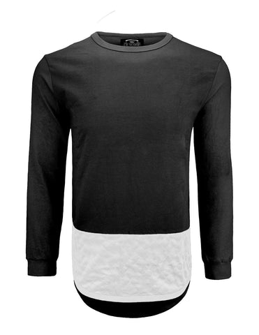 Elong Solid Quilted Hem Long Sleeve Crewneck