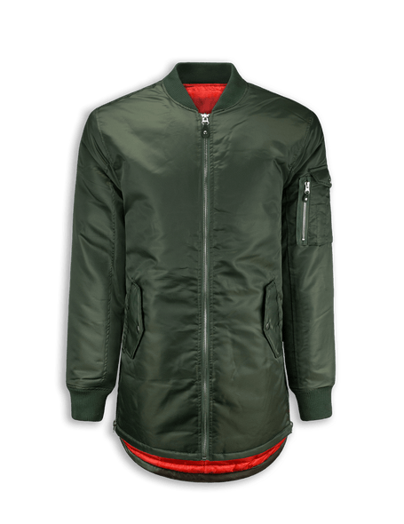MA-1 Bomber Flight Jacket  Elongated Longline SIDE ZIPPER