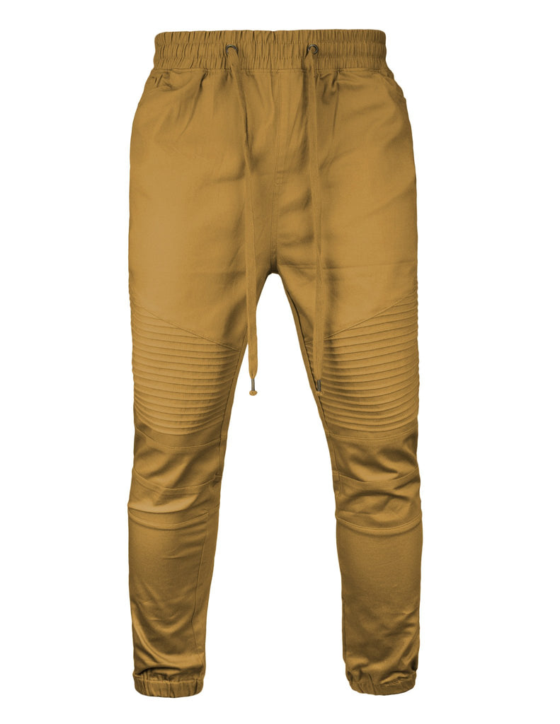 Mens Twill Biker Jogger Pants stretch