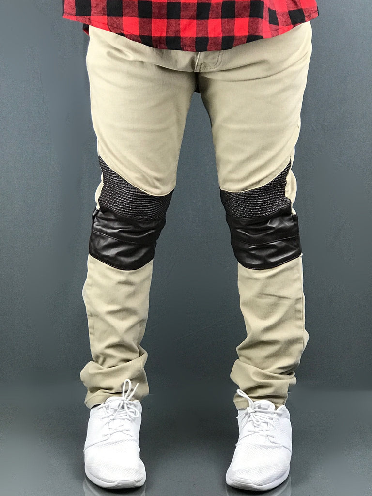 RS7 Twill Khaki PU Biker Knees Skinny Pants