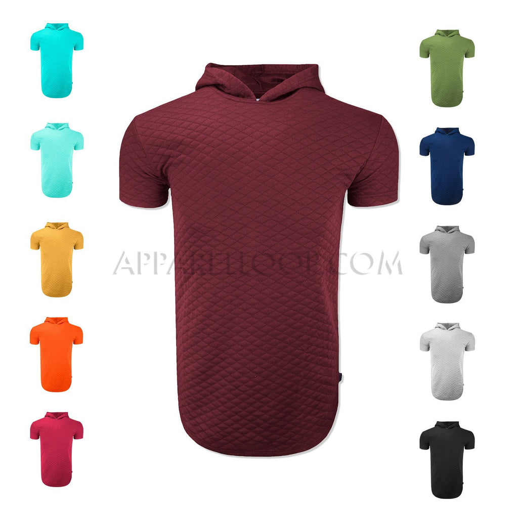 Quilted Short Sleeve Hoodie Shirt (More Colors Available)