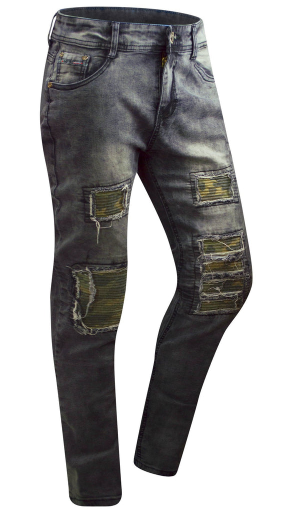 01c68cef407 RAVMEN Motto Jeans Denim stretch SKINNY distressed biker zipper ...